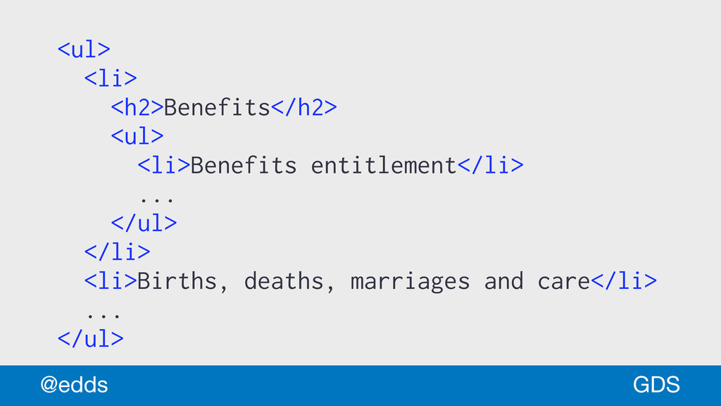 <ul> <li> <h2>Benefits</h2> <ul> <li>Benefits e...