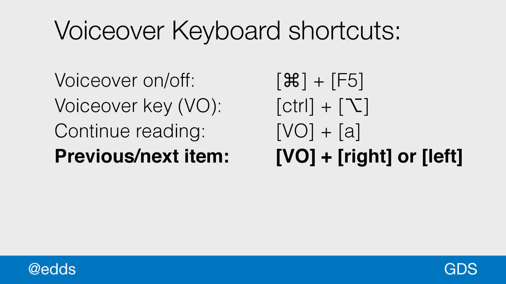 GDS @edds Voiceover Keyboard shortcuts: ! Voice...