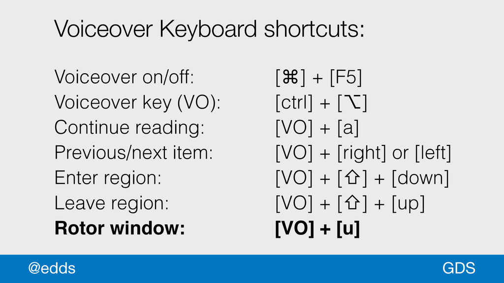 Voiceover Keyboard shortcuts: ! Voiceover on/of...