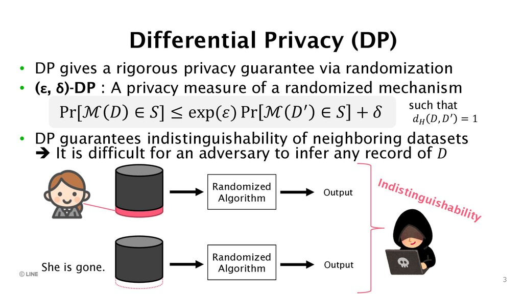 3 Differential Privacy (DP) • DP gives a rigoro...