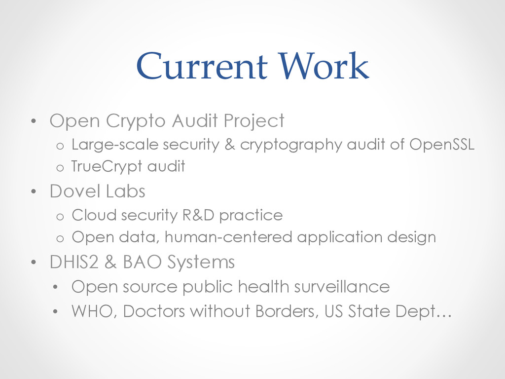 Current Work • Open Crypto Audit Project o...