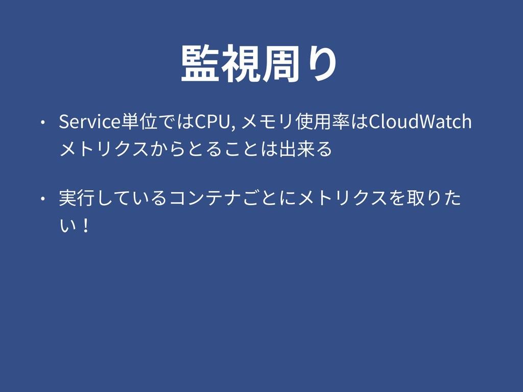 監視周り • Service単位ではCPU, メモリ使⽤率はCloudWatch メトリクスか...