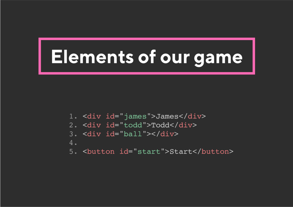 "Elements of our game 1. <div id=""james"">James</..."