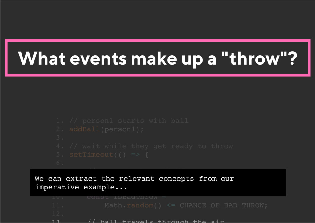 "What events make up a ""throw""? 1. // person1 st..."
