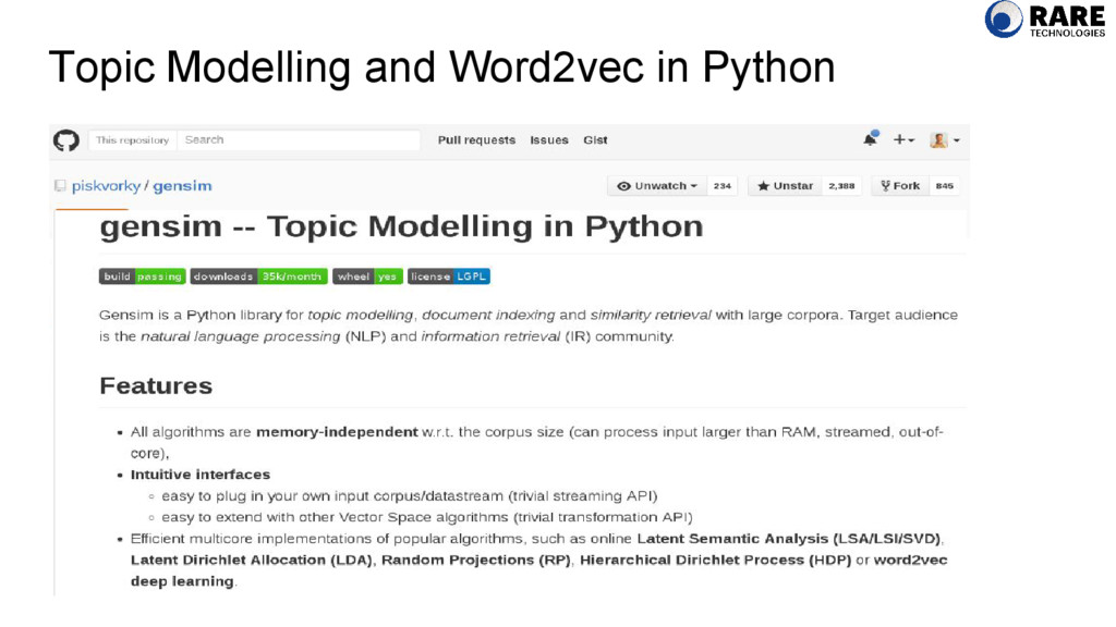Streaming Topic Modelling and Word2vec in Python