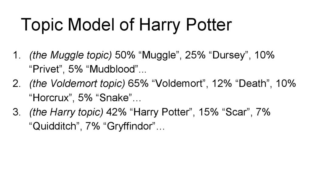 Topic Model of Harry Potter 1. (the Muggle topi...
