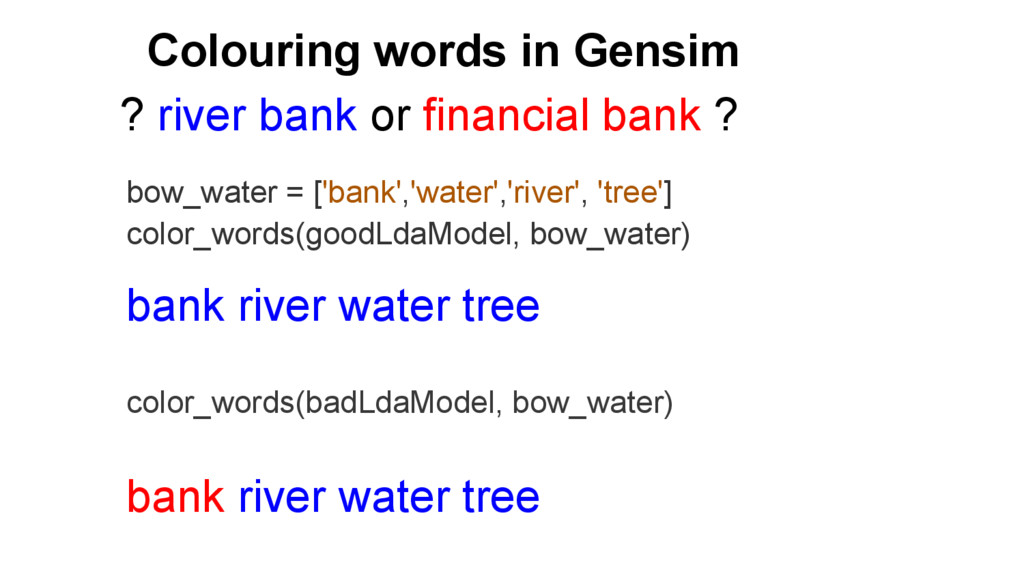 Colouring words in Gensim bow_water = ['bank','...