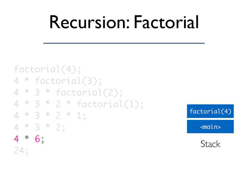 Recursion: Factorial <main> factorial(4) factor...