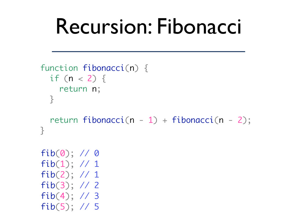Recursion: Fibonacci fib(0); // 0 fib(1); // 1 ...