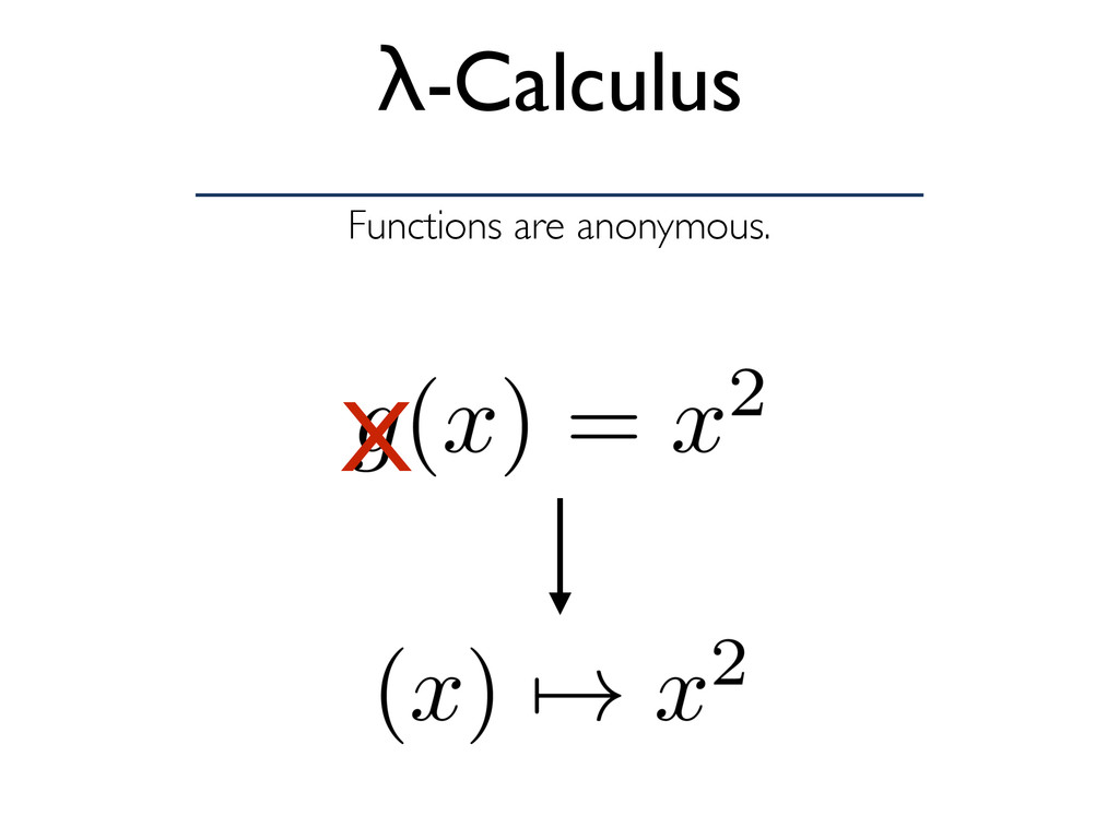 Functions are anonymous. λ-Calculus X