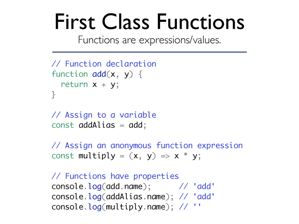 First Class Functions Functions are expressions...