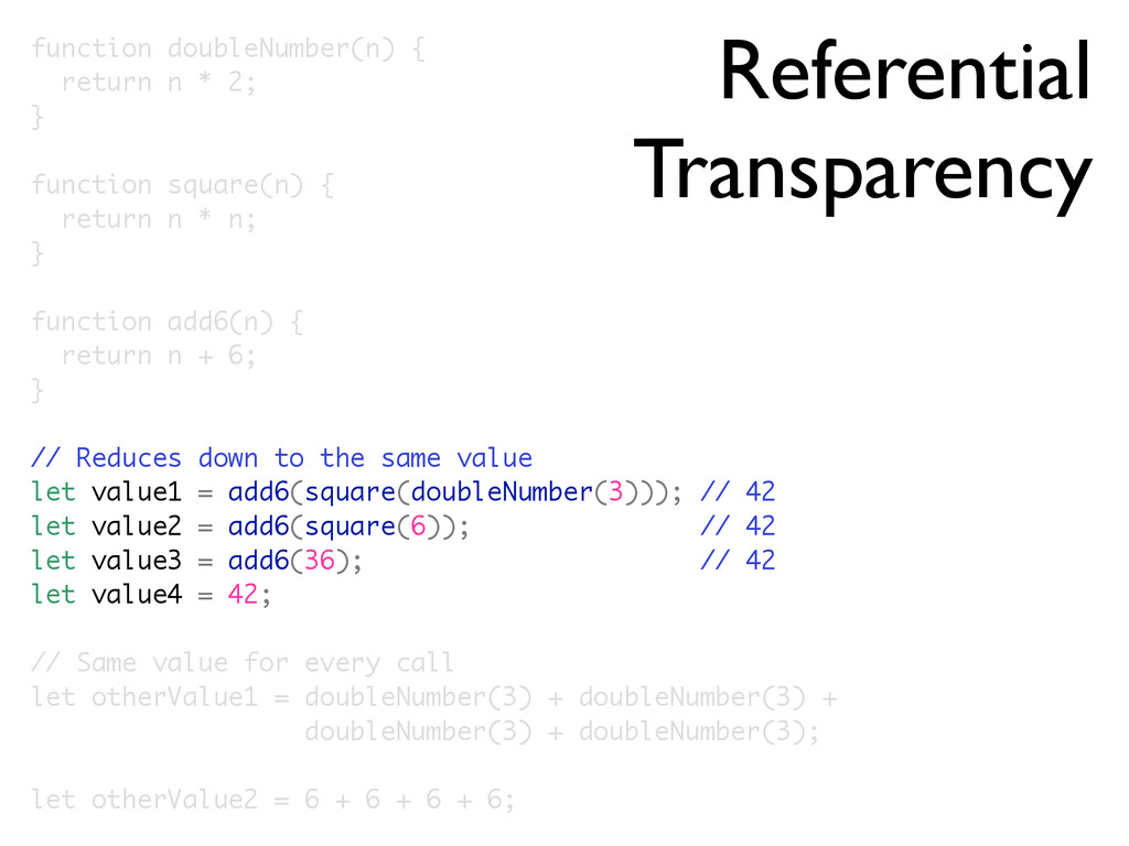 Referential Transparency function doubleNumber(...