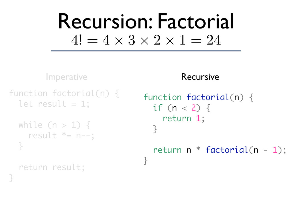 Recursion: Factorial function factorial(n) { le...