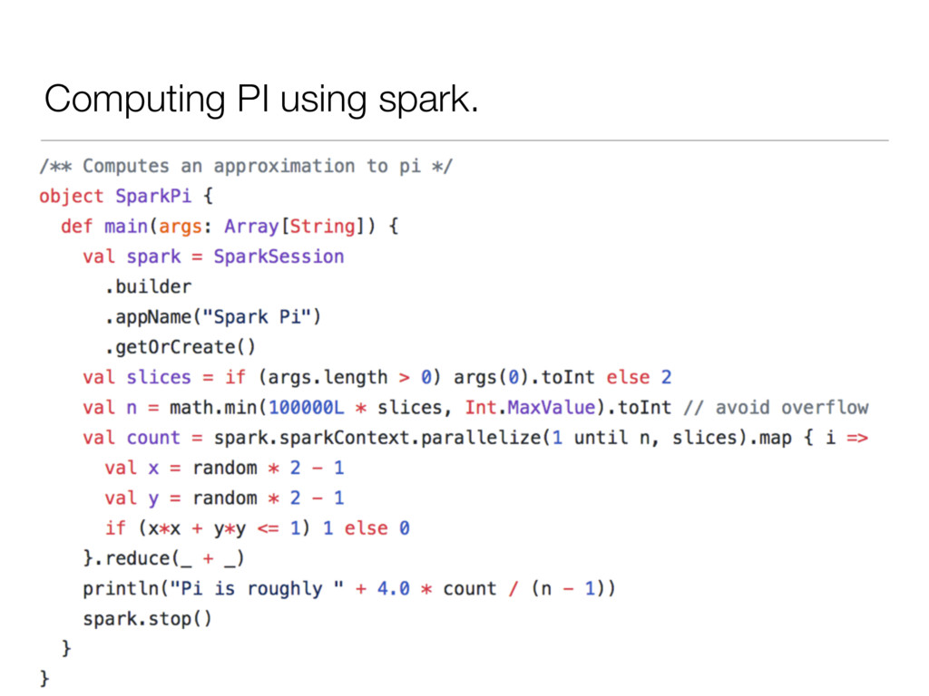 Computing PI using spark.