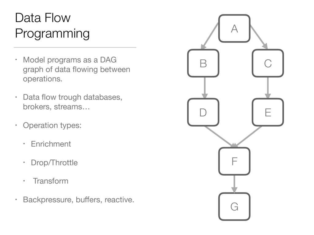 Data Flow Programming • Model programs as a DAG...