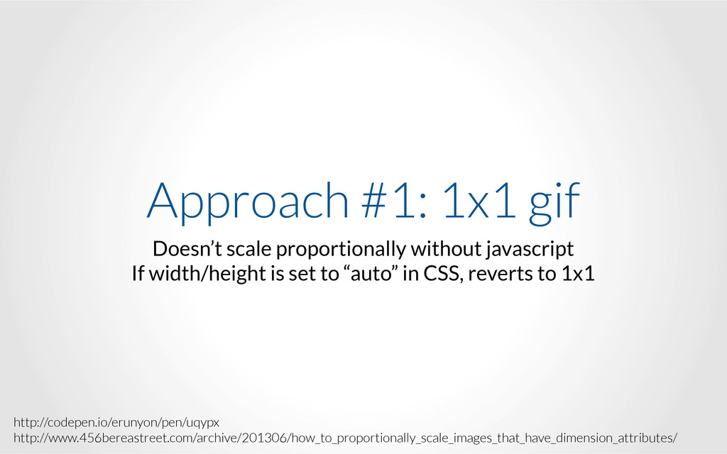 Approach #1: 1x1 gif Doesn't scale proportional...
