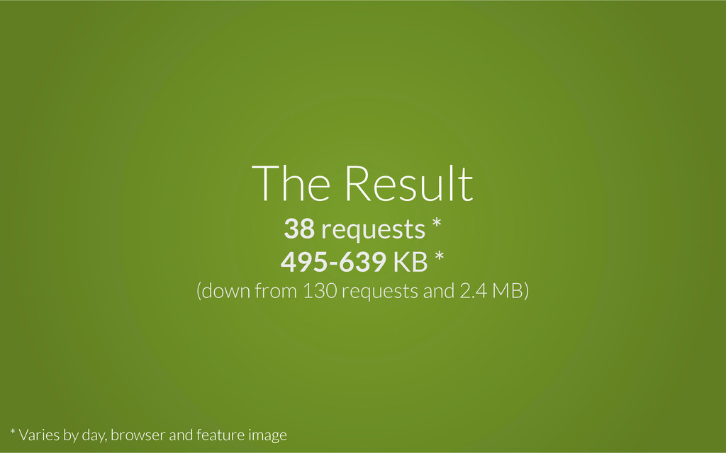 The Result 38 requests * 495-639 KB * (down fro...