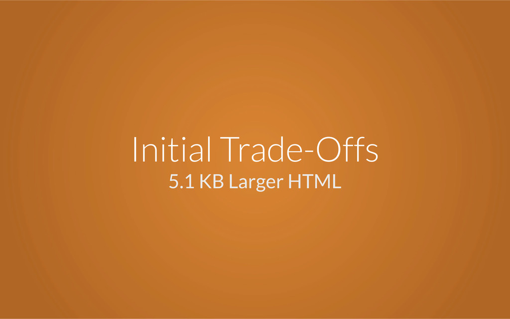 Initial Trade-Offs 5.1 KB Larger HTML