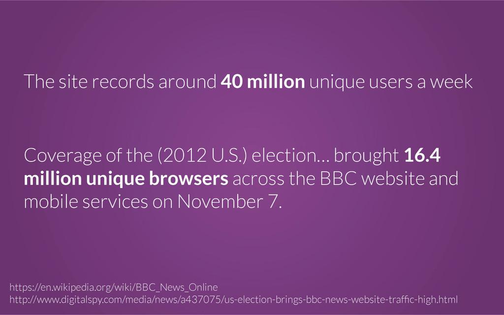 The site records around 40 million unique users...