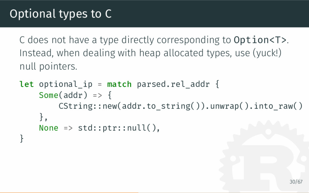 Optional types to C C does not have a type dire...