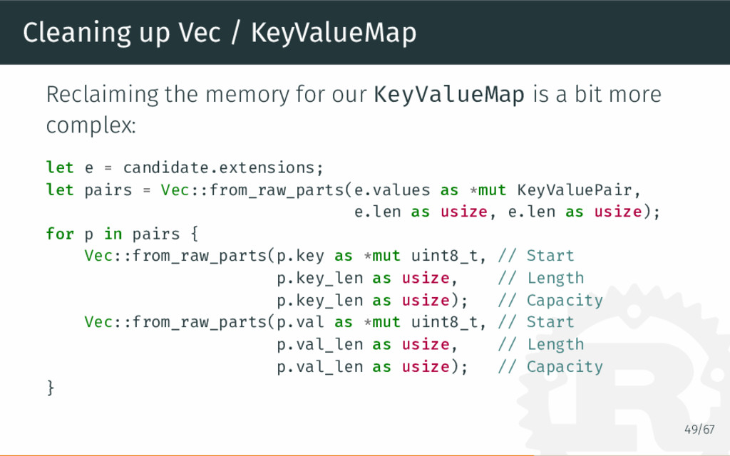Cleaning up Vec / KeyValueMap Reclaiming the me...