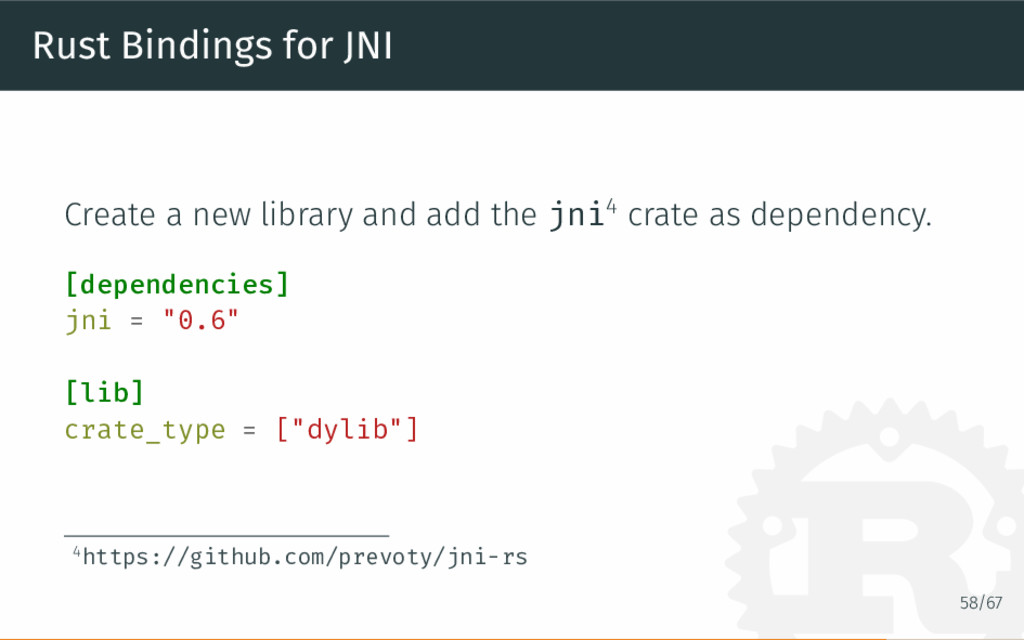 Rust Bindings for JNI Create a new library and ...
