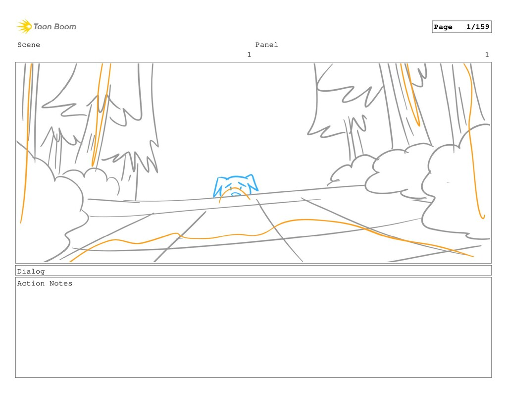 Scene 1 Panel 1 Dialog Action Notes Page 1/159