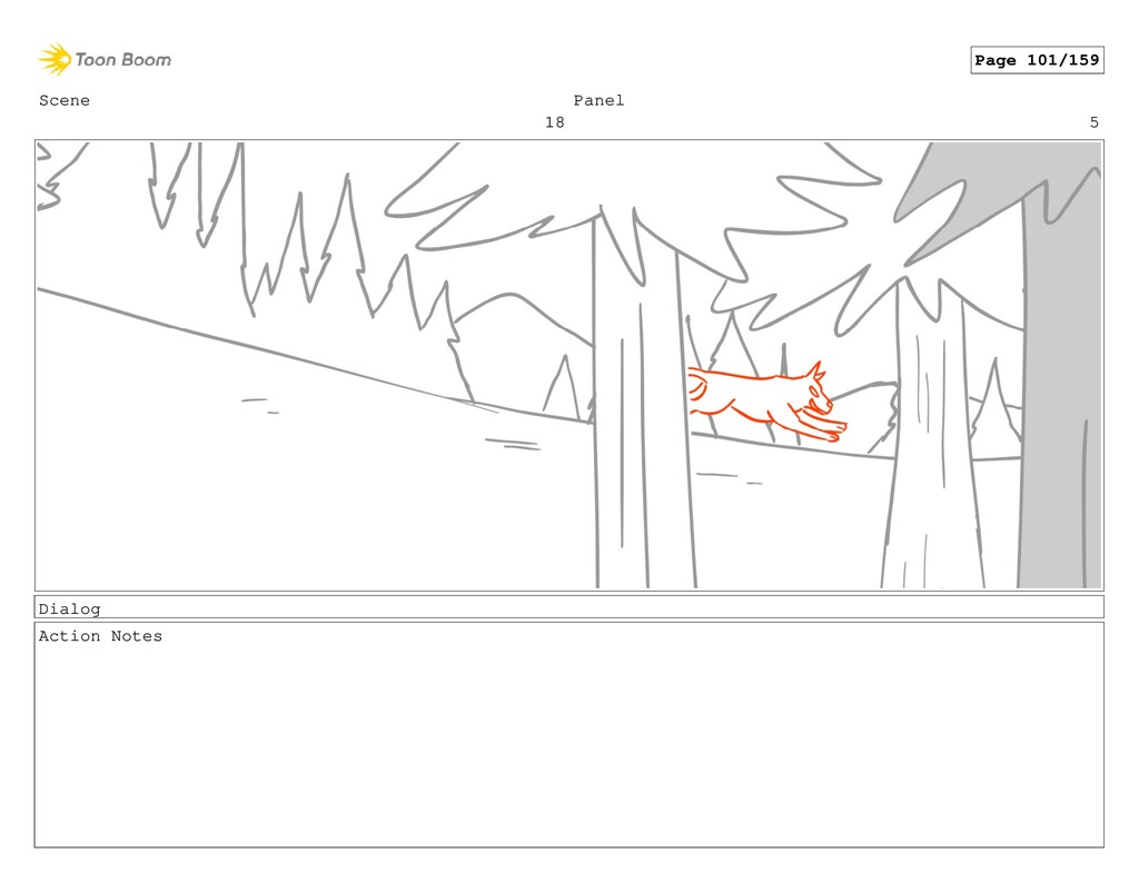 Scene 18 Panel 5 Dialog Action Notes Page 101/1...