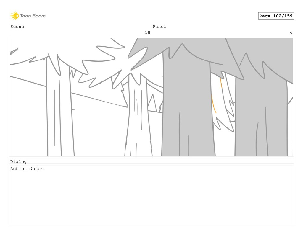 Scene 18 Panel 6 Dialog Action Notes Page 102/1...