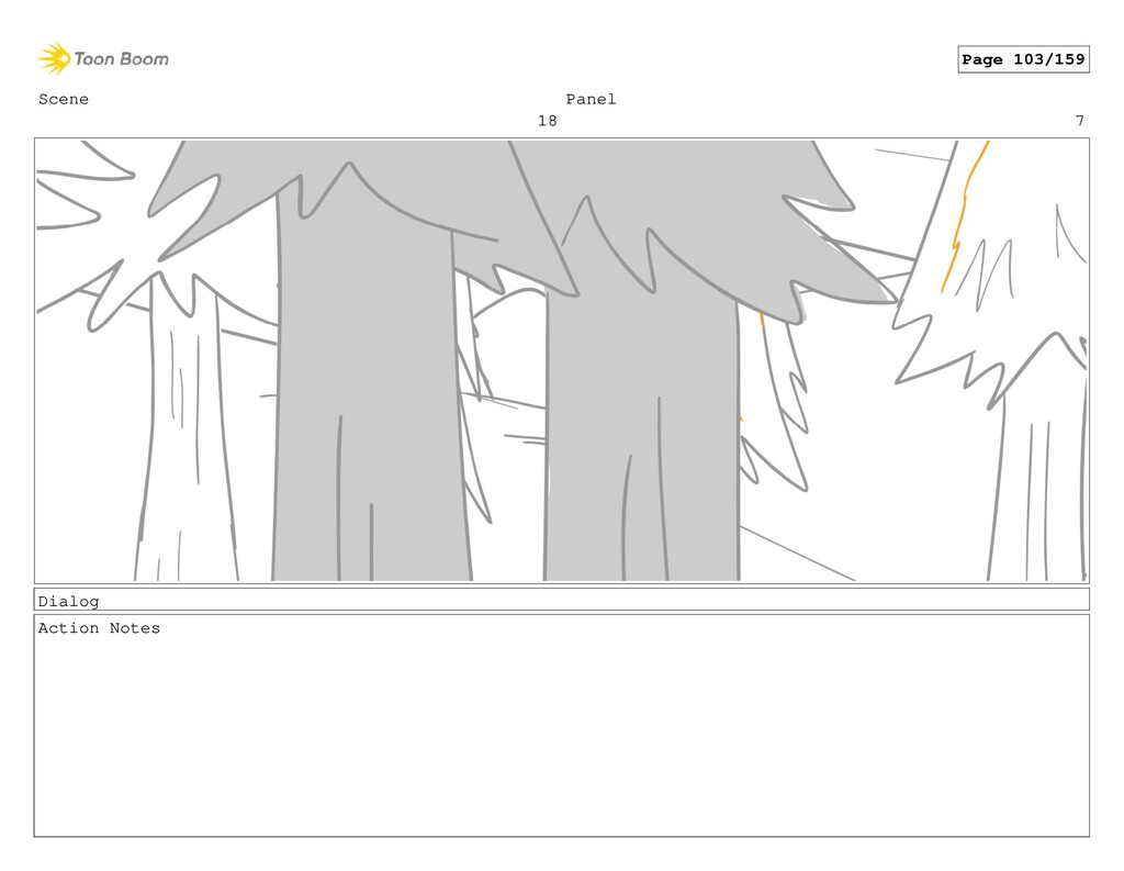 Scene 18 Panel 7 Dialog Action Notes Page 103/1...