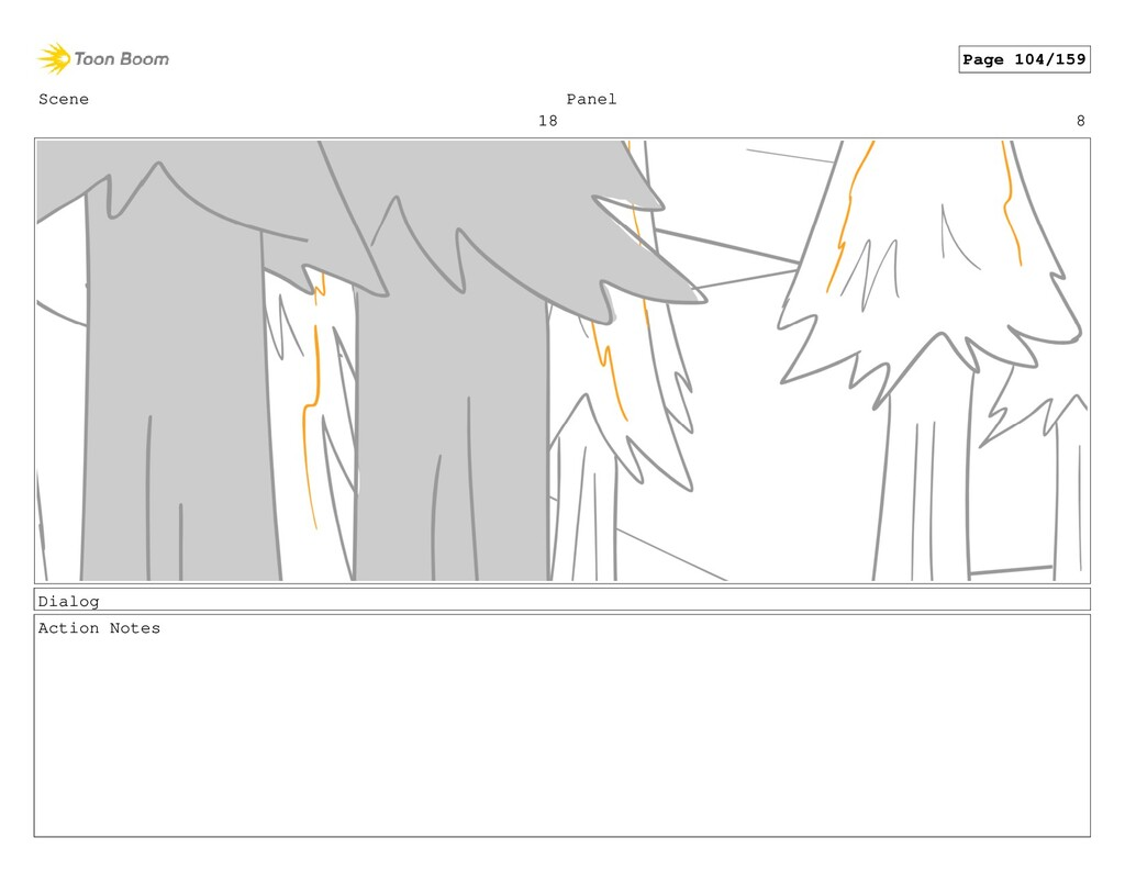 Scene 18 Panel 8 Dialog Action Notes Page 104/1...