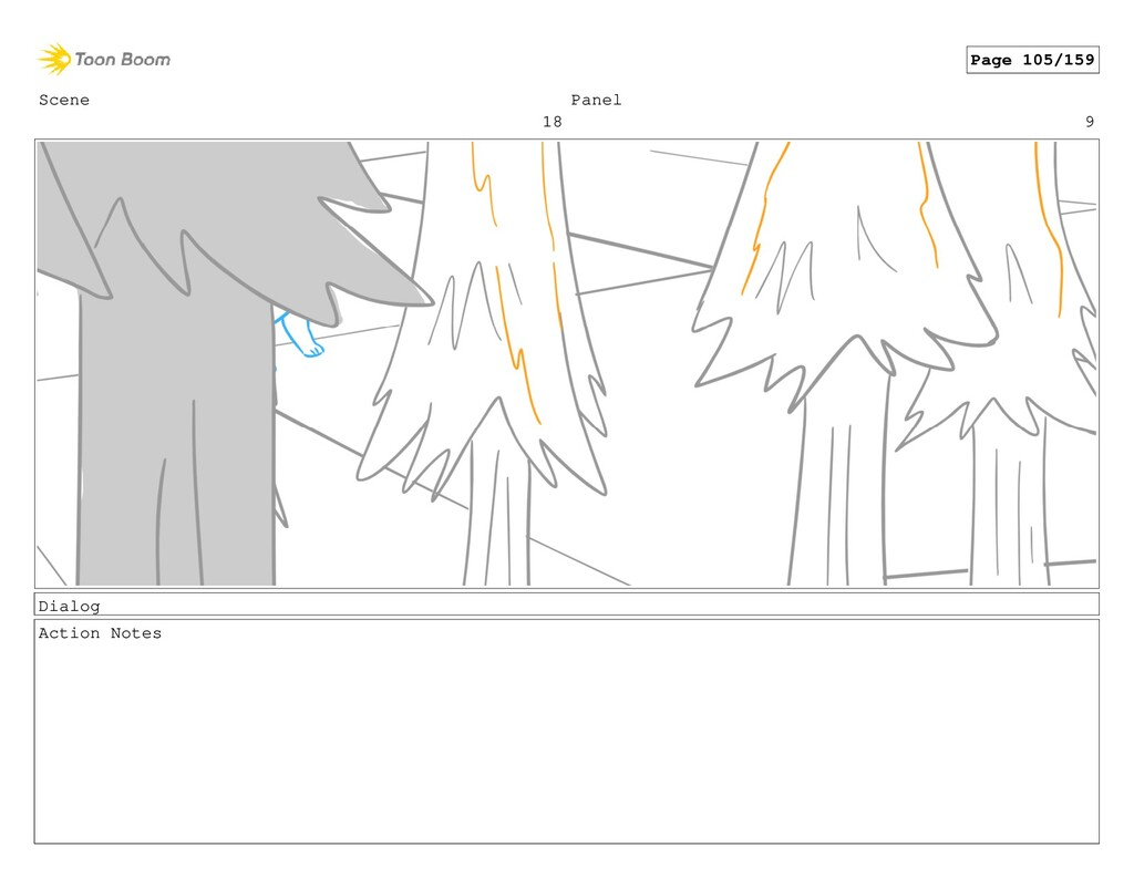 Scene 18 Panel 9 Dialog Action Notes Page 105/1...
