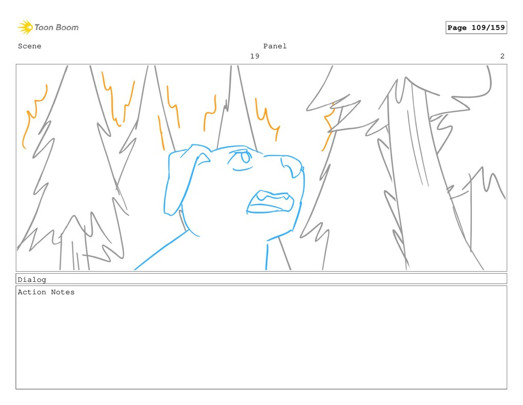 Scene 19 Panel 2 Dialog Action Notes Page 109/1...