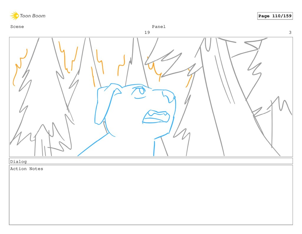 Scene 19 Panel 3 Dialog Action Notes Page 110/1...