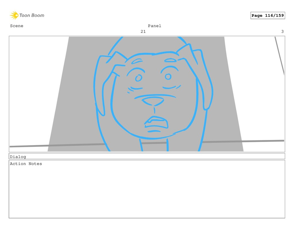 Scene 21 Panel 3 Dialog Action Notes Page 116/1...