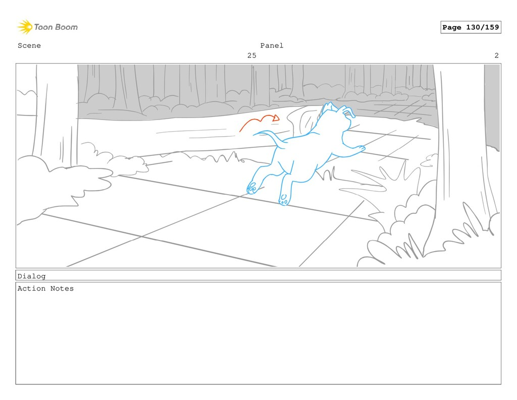 Scene 25 Panel 2 Dialog Action Notes Page 130/1...