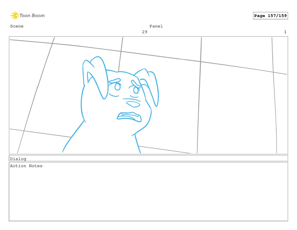 Scene 29 Panel 1 Dialog Action Notes Page 157/1...