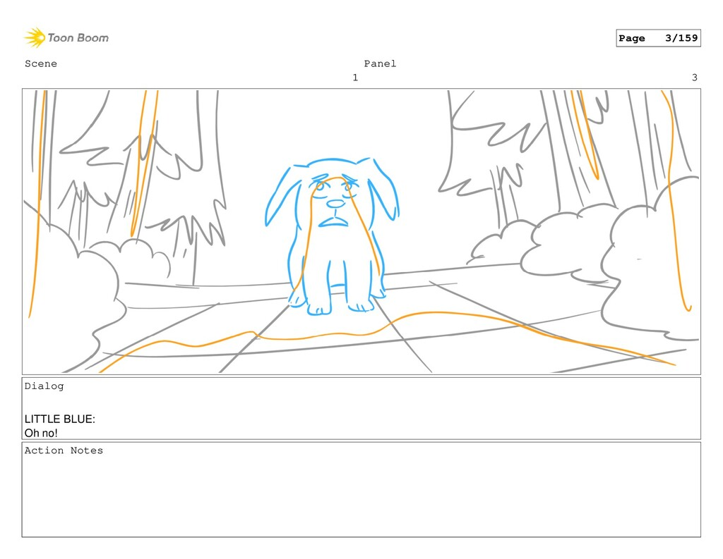Scene 1 Panel 3 Dialog LITTLE BLUE: Oh no! Acti...
