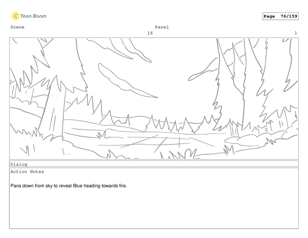 Scene 16 Panel 1 Dialog Action Notes Pans down ...