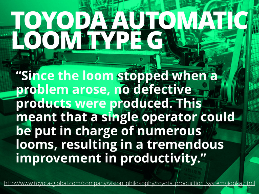"TOYODA AUTOMATIC LOOM TYPE G 24 ""Since the loom..."