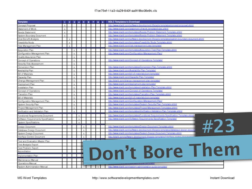 #23 Don't Bore Them