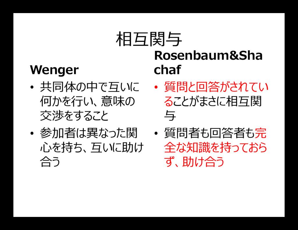 相互関与 Wenger • 共同体の中で互いに 何かを行い、意味の 交渉をすること Rosen...