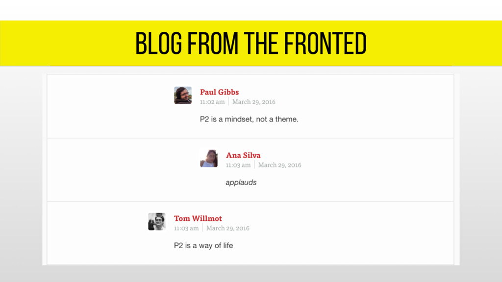 blog from the fronted