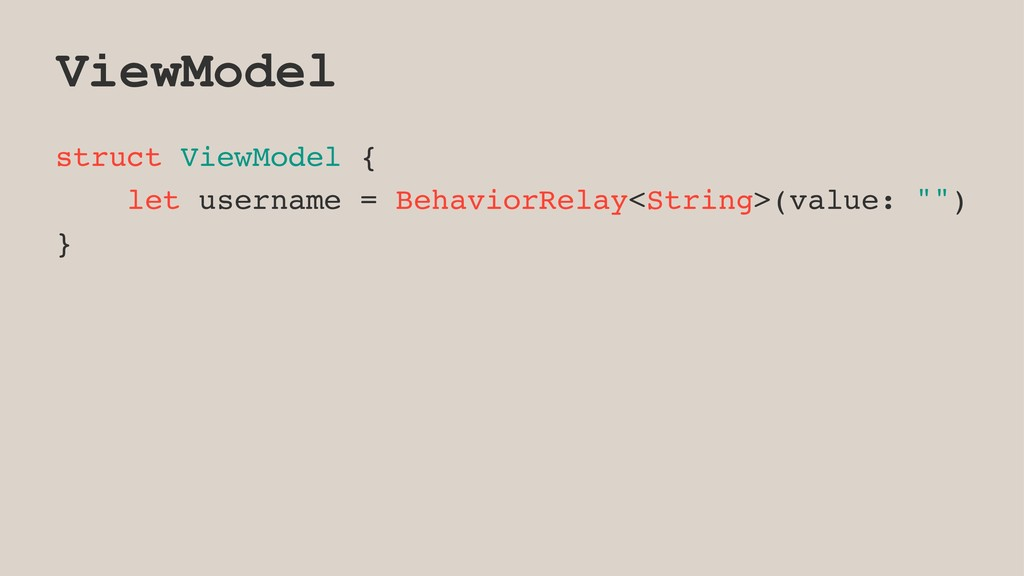 ViewModel struct ViewModel { let username = Beh...