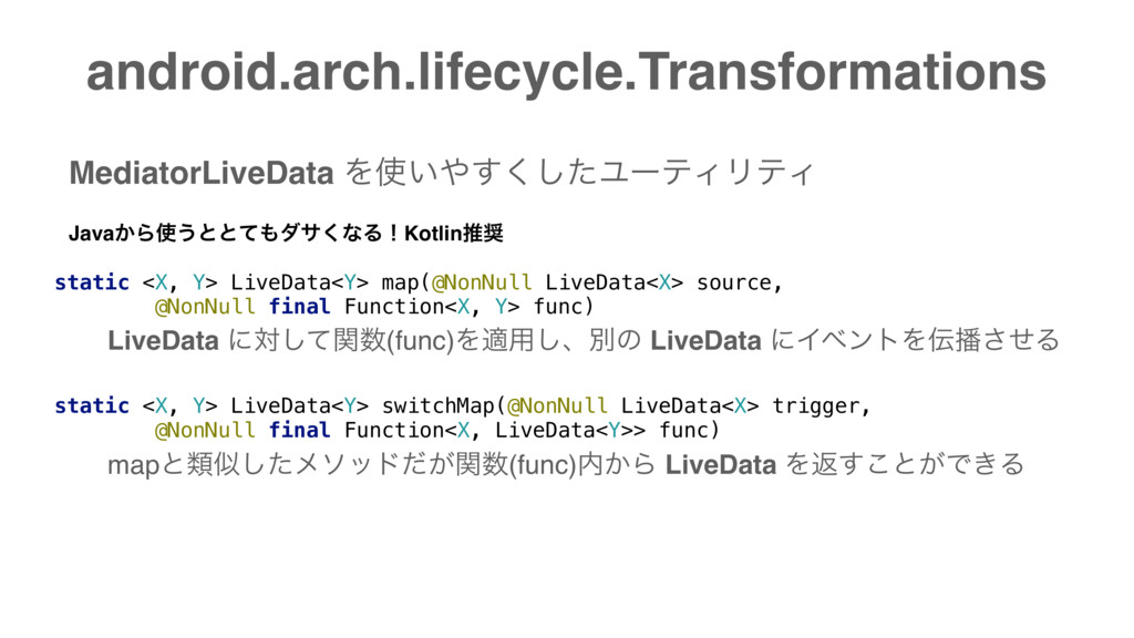 android.arch.lifecycle.Transformations static <...