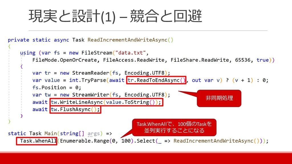 現実と設計(1) – 競合と回避 非同期処理 Task.WhenAllで、100個のTaskを...