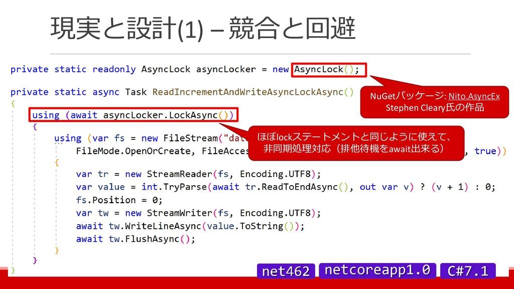 現実と設計(1) – 競合と回避 NuGetパッケージ: Nito.AsyncEx Steph...