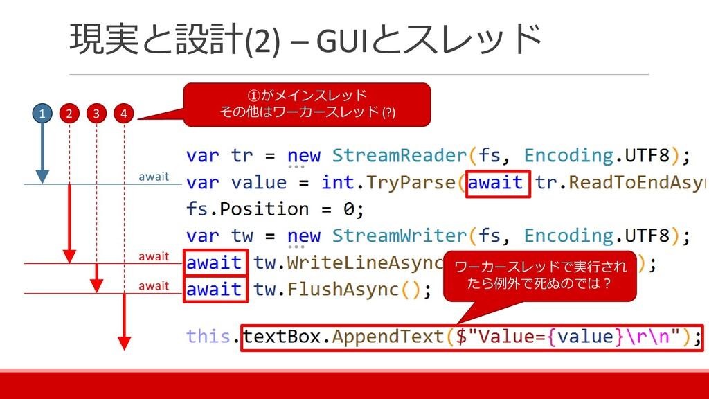 現実と設計(2) – GUIとスレッド 1 2 3 4 await await await ①...