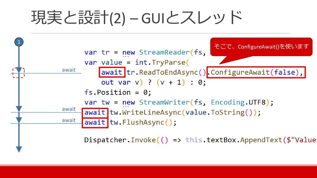 現実と設計(2) – GUIとスレッド そこで、ConfigureAwait()を使います a...