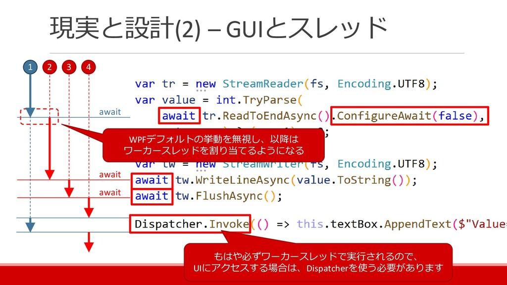 現実と設計(2) – GUIとスレッド 1 2 3 4 await await await W...